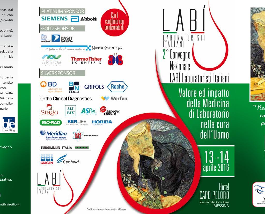 """2° Convegno Nazionale Labì – Laboratoristi Italiani: """"Valore ed impatto della Medicina di Laboratorio nella cura dell'Uomo"""""""