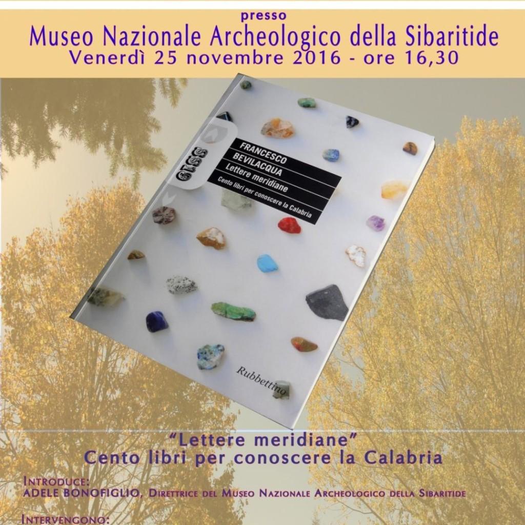 Incontri culturali d'autunno, Museo Nazionale Archeologico della Sibaritide. Sala convegni  25 novembre 2016 – ore 16.30