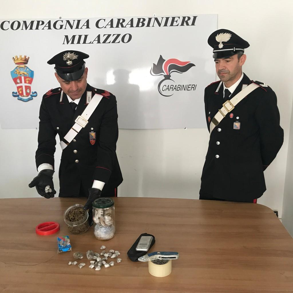 Milazzo (ME); 20enne arrestato dai Carabinieri per possesso di droga