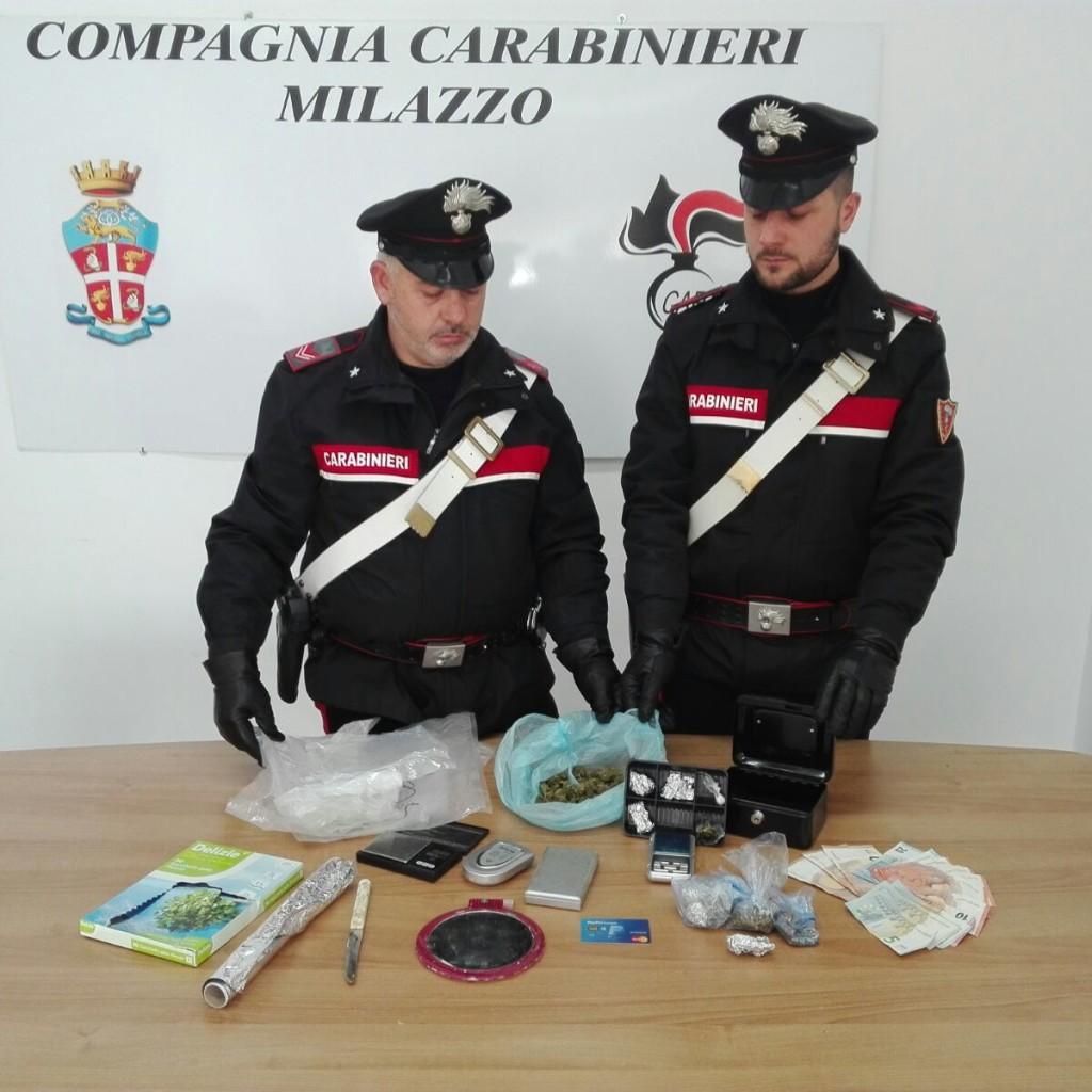 Spaccio di Stupefacenti: Due persone arrestate ed un giovane denunciato dai Carabinieri della Compagnia di Milazzo