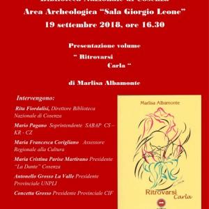 """Presentazione volume  """"Ritrovarsi  Carla""""  di Marlisa Albamonte"""