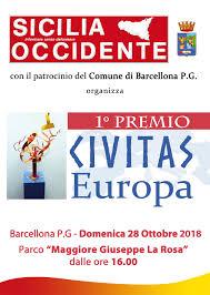 """A Barcellona P.G. """"SICILIA OCCIDENTE"""" organizza il Primo Premio """"CIVITAS Europa"""""""