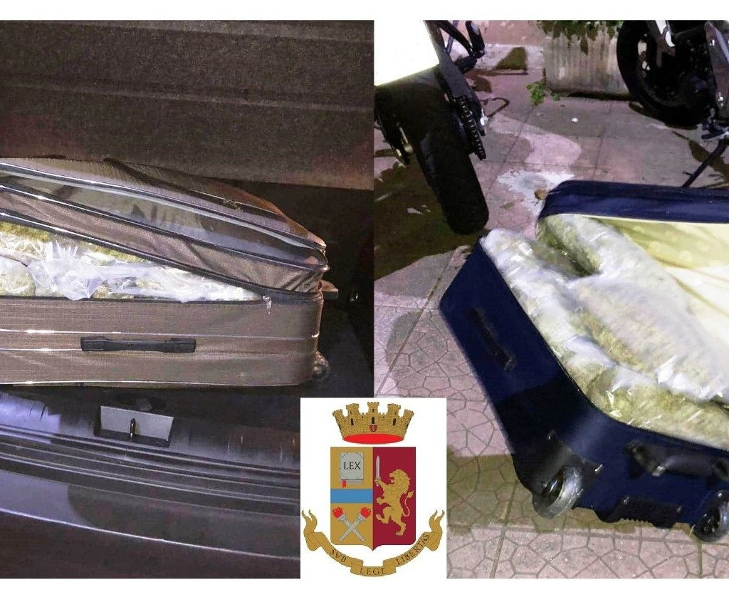 Trovati con 20 chili di marijuana nel trolley. Arrestati dalla Polizia di Stato due gelesi al porto di Messina