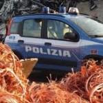 """Regione siciliana. 1 tonnellata di rame sequestrato e 3 indagati dalla Polizia di Stato  nell'ambito della 3^Operazione """"Oro Rosso"""""""