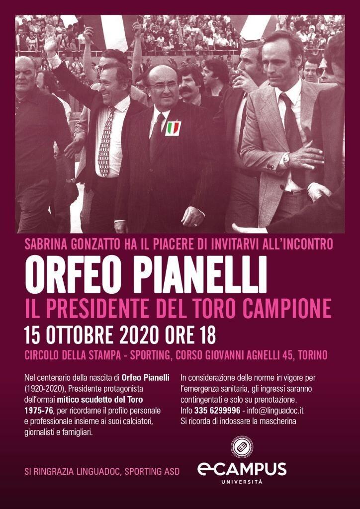 """Sabrina Gonzatto presenta, """"Orfeo Pianelli, il Presidente del Toro Campione"""""""